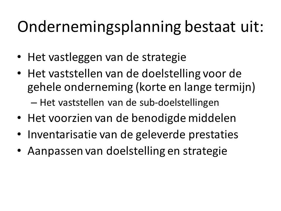 Ondernemingsplanning bestaat uit: Het vastleggen van de strategie Het vaststellen van de doelstelling voor de gehele onderneming (korte en lange termi