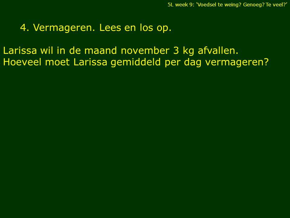 4. Vermageren. Lees en los op. Larissa wil in de maand november 3 kg afvallen.