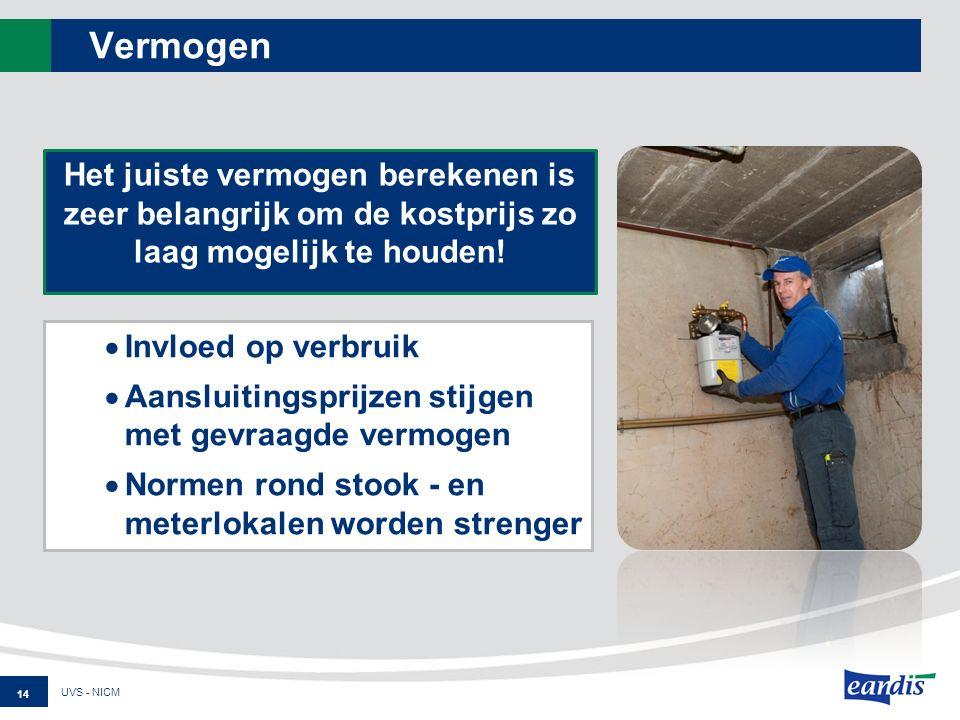 Vermogen  Invloed op verbruik  Aansluitingsprijzen stijgen met gevraagde vermogen  Normen rond stook - en meterlokalen worden strenger UVS - NICM Het juiste vermogen berekenen is zeer belangrijk om de kostprijs zo laag mogelijk te houden.