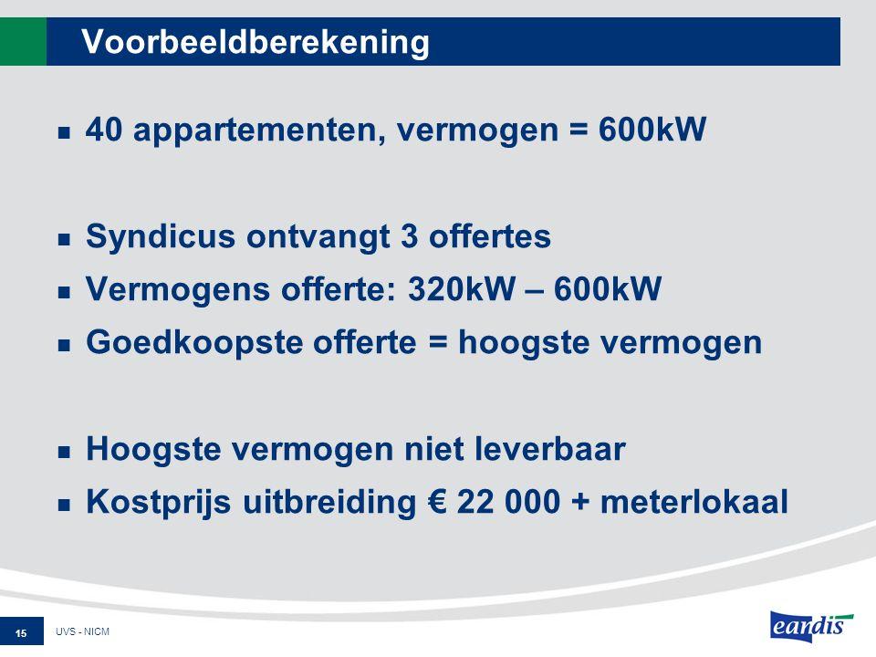 Voorbeeldberekening 40 appartementen, vermogen = 600kW Syndicus ontvangt 3 offertes Vermogens offerte: 320kW – 600kW Goedkoopste offerte = hoogste vermogen Hoogste vermogen niet leverbaar Kostprijs uitbreiding € 22 000 + meterlokaal UVS - NICM 15
