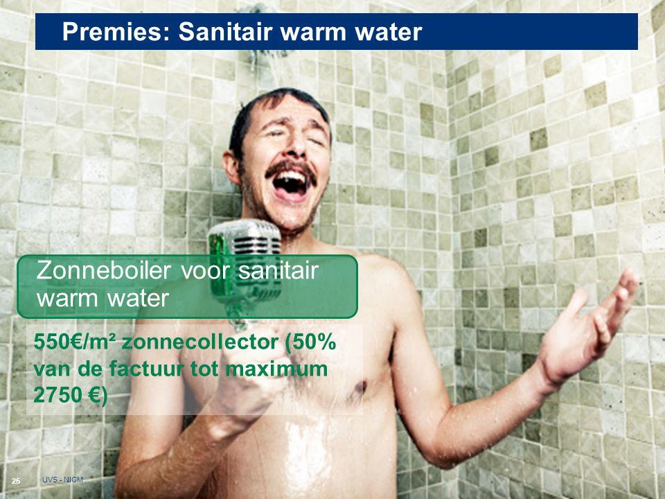 Premies: Sanitair warm water 25 UVS - NICM Zonneboiler voor sanitair warm water 550€/m² zonnecollector (50% van de factuur tot maximum 2750 €)