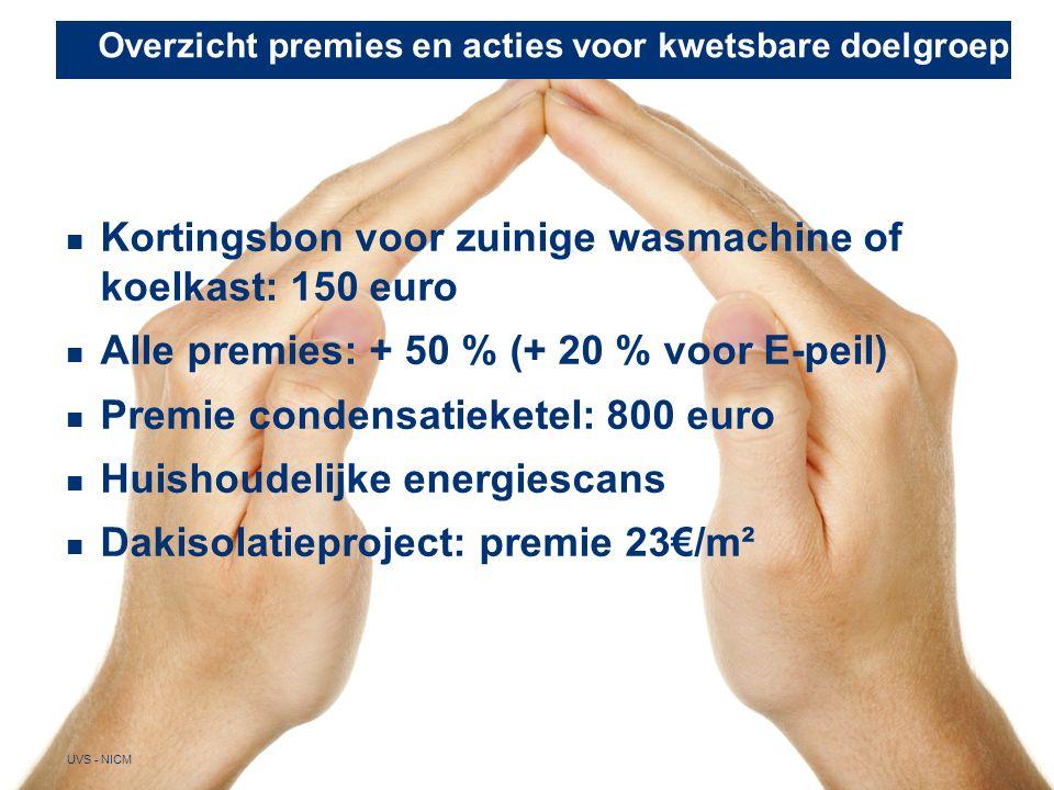 Overzicht premies en acties voor kwetsbare doelgroep 27 UVS - NICM Kortingsbon voor zuinige wasmachine of koelkast: 150 euro Alle premies: + 50 % (+ 20 % voor E-peil) Premie condensatieketel: 800 euro Huishoudelijke energiescans Dakisolatieproject: premie 23€/m²