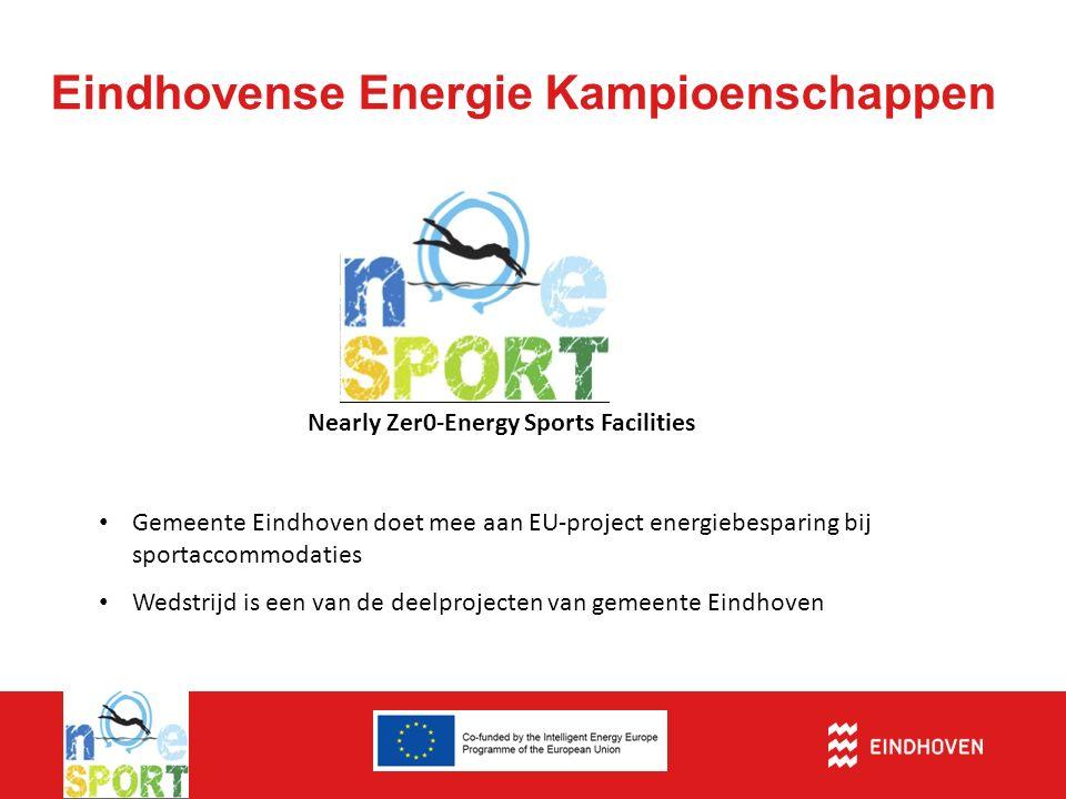 Eindhovense Energie Kampioenschappen Nearly Zer0-Energy Sports Facilities Gemeente Eindhoven doet mee aan EU-project energiebesparing bij sportaccommodaties Wedstrijd is een van de deelprojecten van gemeente Eindhoven