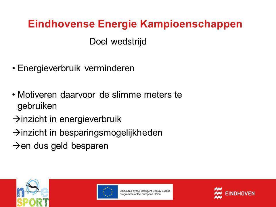 Eindhovense Energie Kampioenschappen Doel wedstrijd Energieverbruik verminderen Motiveren daarvoor de slimme meters te gebruiken  inzicht in energiev