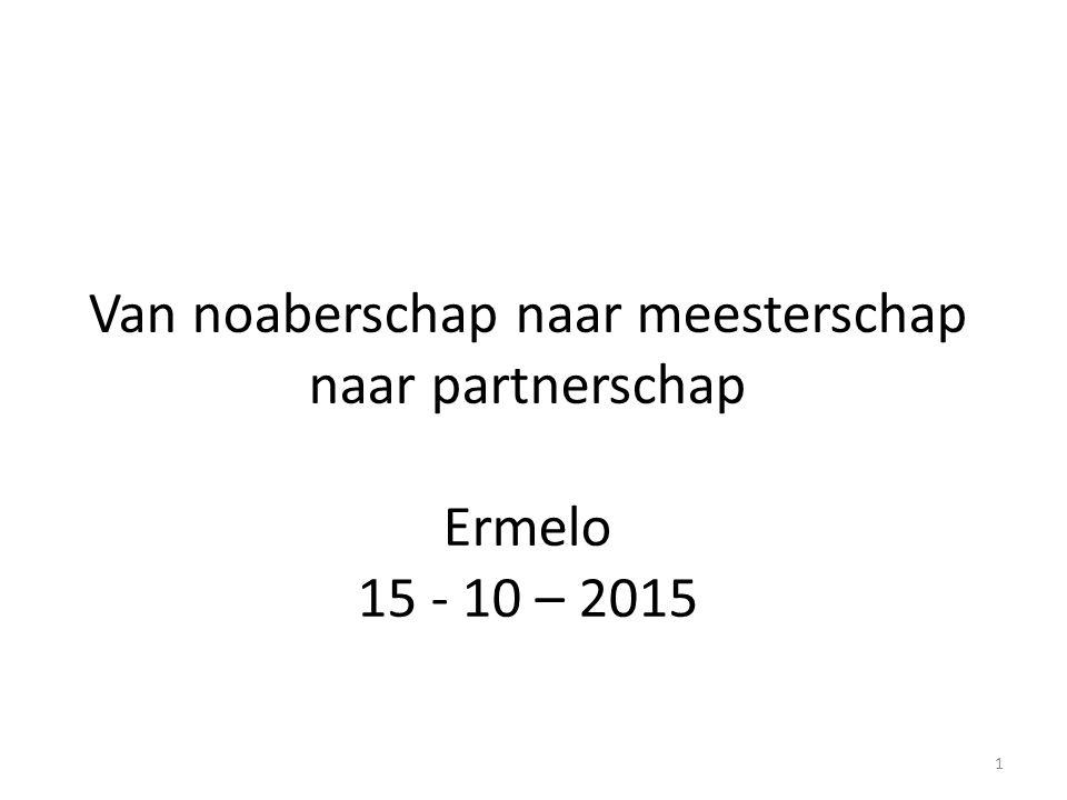 Van noaberschap naar meesterschap naar partnerschap Ermelo 15 - 10 – 2015 1