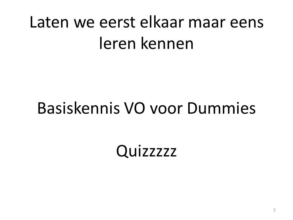 Laten we eerst elkaar maar eens leren kennen Basiskennis VO voor Dummies Quizzzzz 3