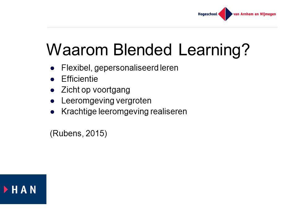 ●Flexibel, gepersonaliseerd leren ●Efficientie ●Zicht op voortgang ●Leeromgeving vergroten ●Krachtige leeromgeving realiseren (Rubens, 2015) Waarom Blended Learning?
