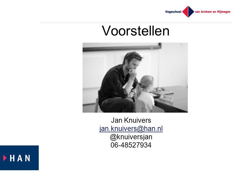 Voorstellen Jan Knuivers jan.knuivers@han.nl @knuiversjan 06-48527934