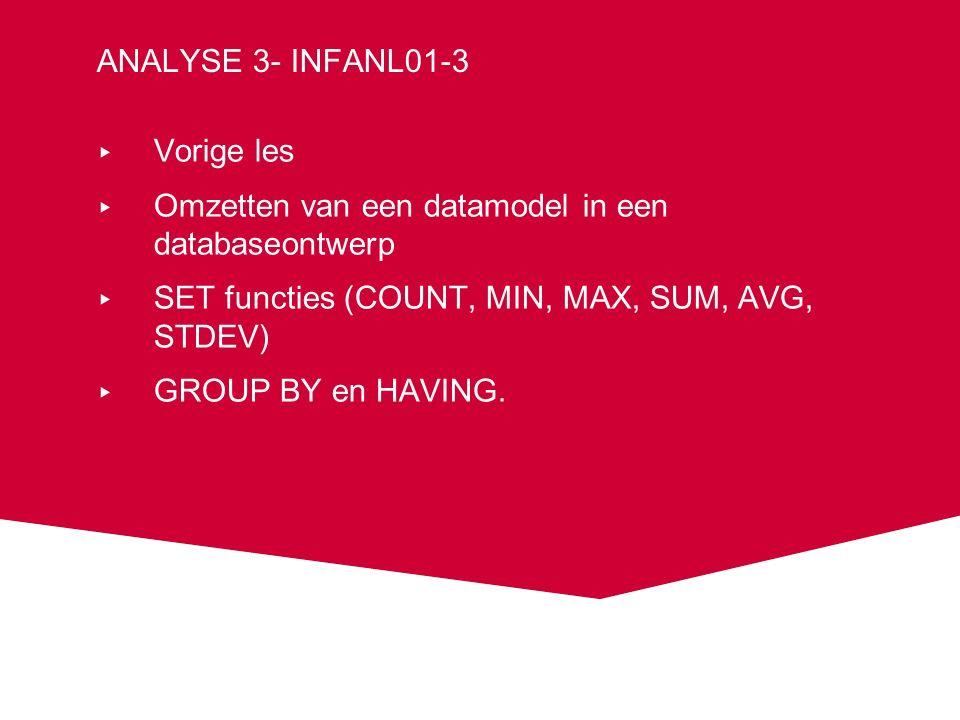 MIN, MAX voorbeelden SELECT MIN(bedrag) FROM boetes; 25 SELECT MAX(bedrag) FROM boetes; 85