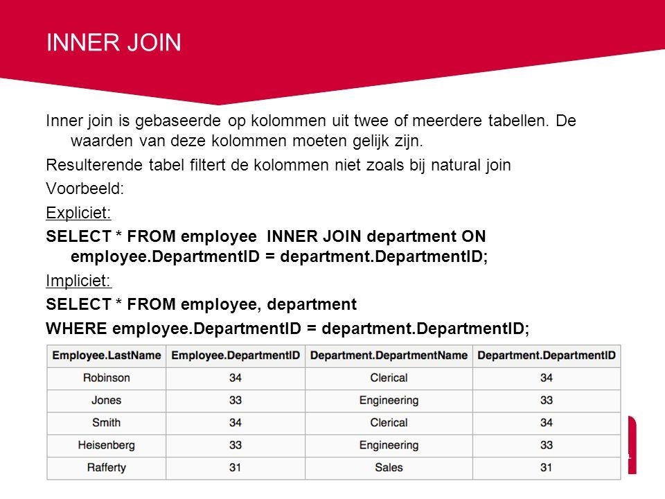 INNER JOIN Inner join is gebaseerde op kolommen uit twee of meerdere tabellen.