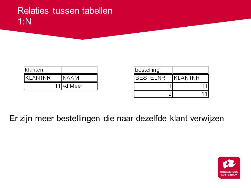 Relaties tussen tabellen 1:N Er zijn meer bestellingen die naar dezelfde klant verwijzen