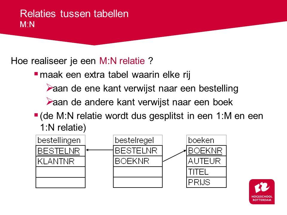 Relaties tussen tabellen M:N Hoe realiseer je een M:N relatie .