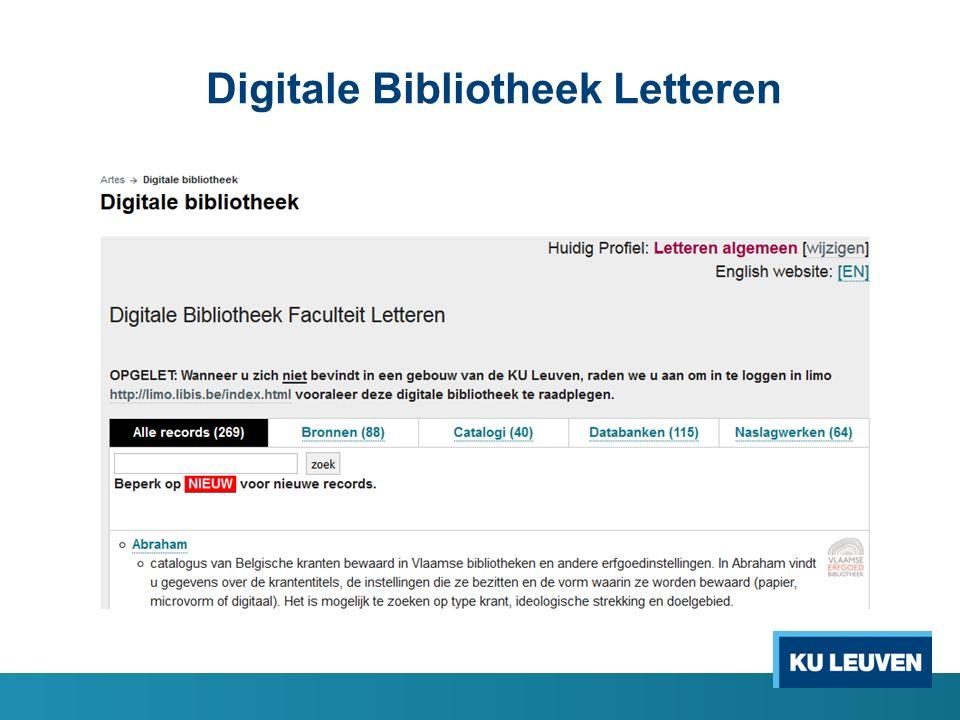 Ontsluiting limo.libis.be Fysieke én digitale collectie van alle KU Leuven bibliotheken (en meer) via Limo