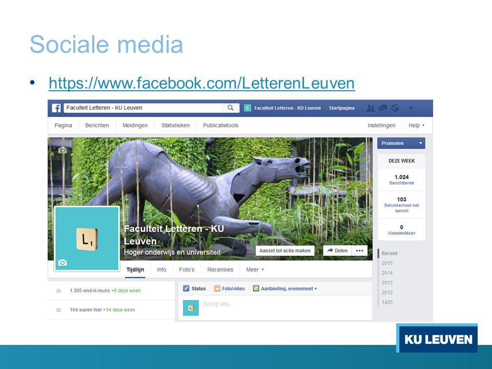 Sociale media https://www.facebook.com/LetterenLeuven