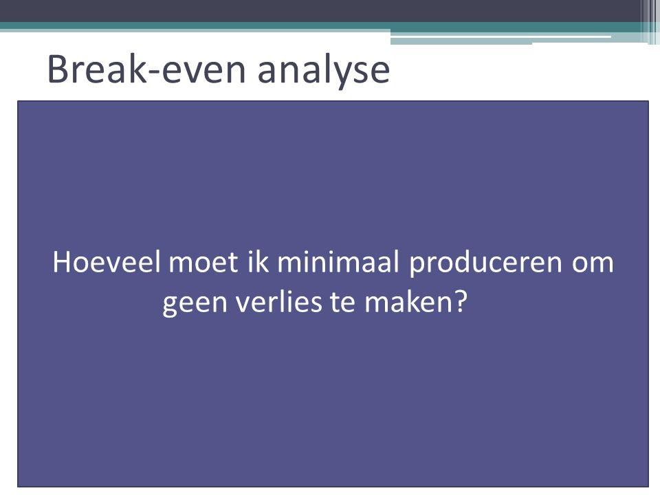 Break-even analyse Hoeveel moet ik minimaal produceren om geen verlies te maken?= p
