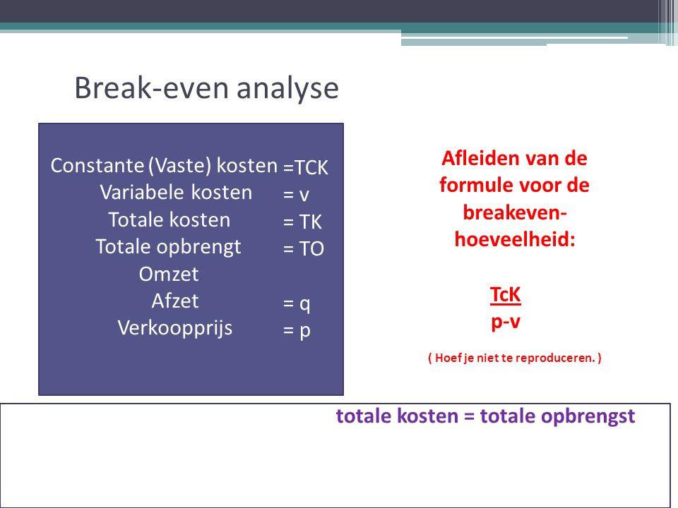 Break-even analyse totale kosten = totale opbrengst Totale constant kosten + totale variabele kosten = totale opbrengst TcK + ( v * q ) = p * q Constante (Vaste) kosten = TCK Variabele kosten = v Totale kosten = TK Totale opbrengt = TO Omzet = p * q Afzet = q Verkoopprijs = p =TCK = v = TK = TO = q = p Afleiden van de formule voor de breakeven- hoeveelheid: ( Hoef je niet te reproduceren.