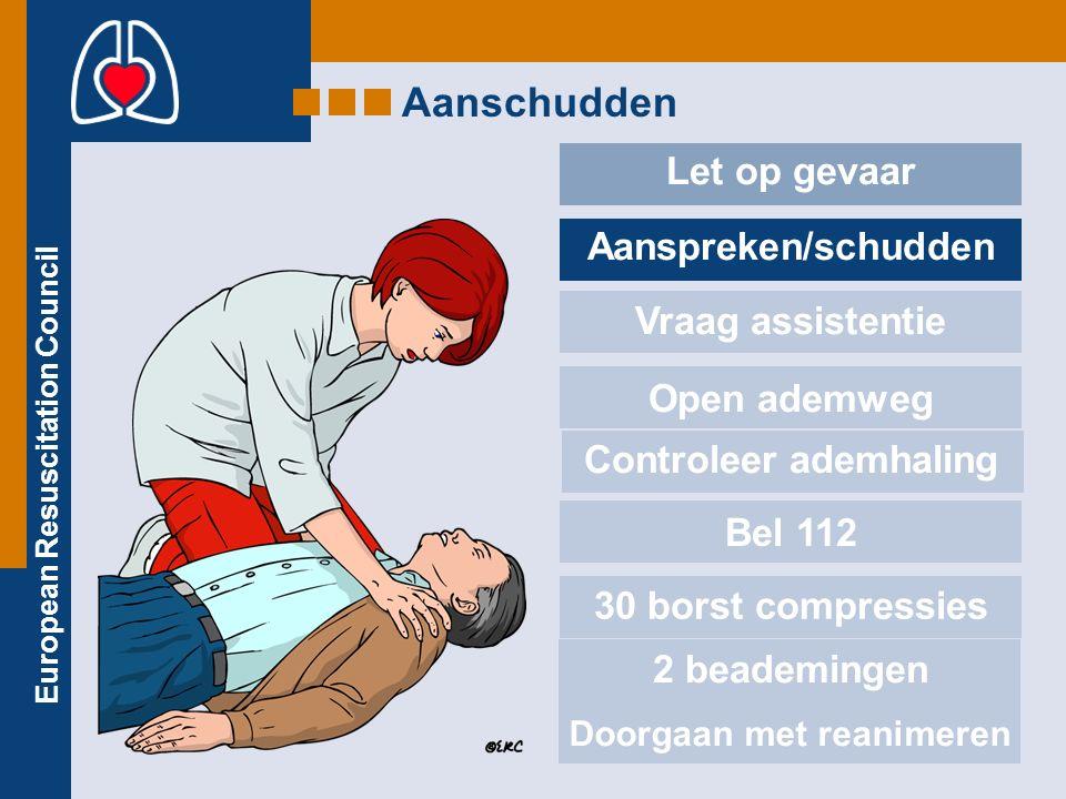 European Resuscitation Council Aanschudden Let op gevaar Aanspreken/schudden Vraag assistentie Open ademweg Controleer ademhaling Bel 112 30 borst compressies 2 beademingen Doorgaan met reanimeren