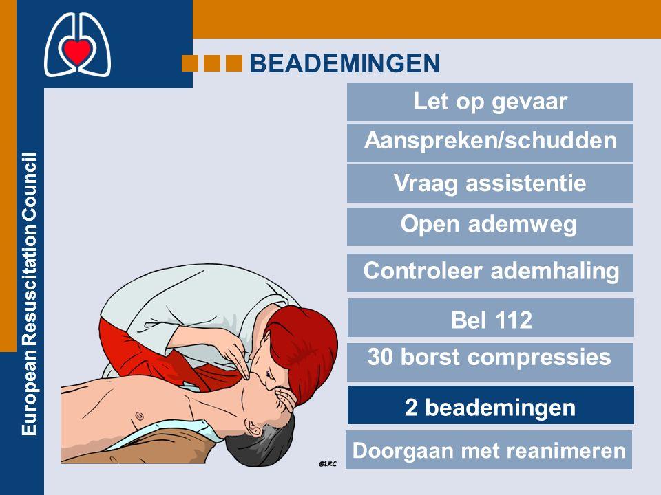 European Resuscitation Council BEADEMINGEN Let op gevaar Aanspreken/schudden Vraag assistentie Open ademweg Controleer ademhaling Bel 112 30 borst compressies 2 beademingen Doorgaan met reanimeren