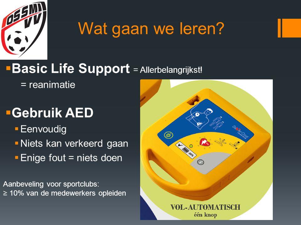 Wat gaan we leren. Basic Life Support = Allerbelangrijkst.