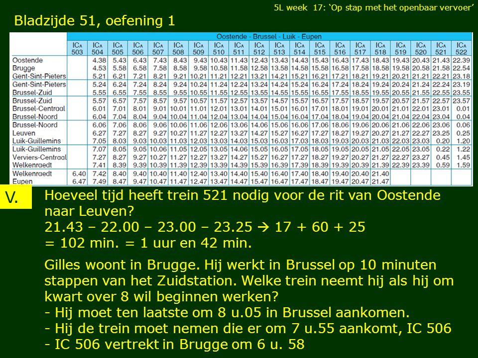 5L week 17: 'Op stap met het openbaar vervoer' Bladzijde 51, oefening 1 V. Hoeveel tijd heeft trein 521 nodig voor de rit van Oostende naar Leuven? 21