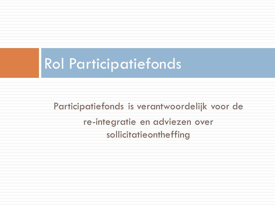 Participatiefonds is verantwoordelijk voor de re-integratie en adviezen over sollicitatieontheffing Rol Participatiefonds