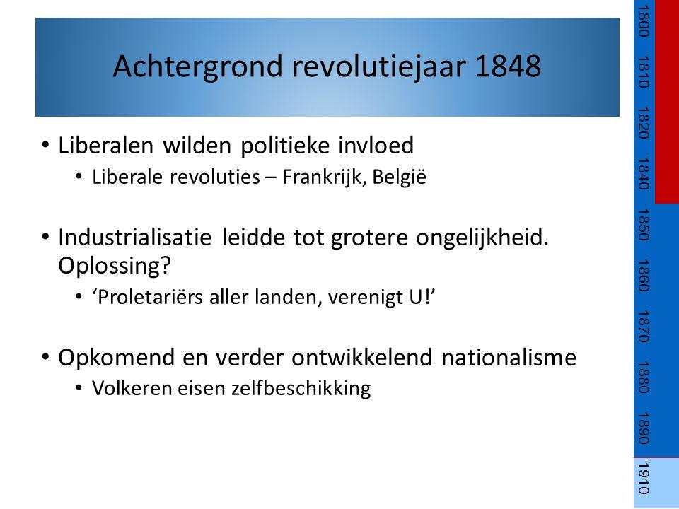 Liberalen wilden politieke invloed Liberale revoluties – Frankrijk, België Industrialisatie leidde tot grotere ongelijkheid. Oplossing? 'Proletariërs