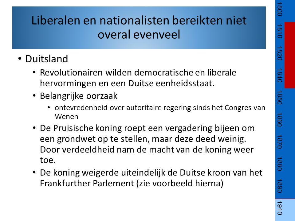 Duitsland Revolutionairen wilden democratische en liberale hervormingen en een Duitse eenheidsstaat. Belangrijke oorzaak ontevredenheid over autoritai