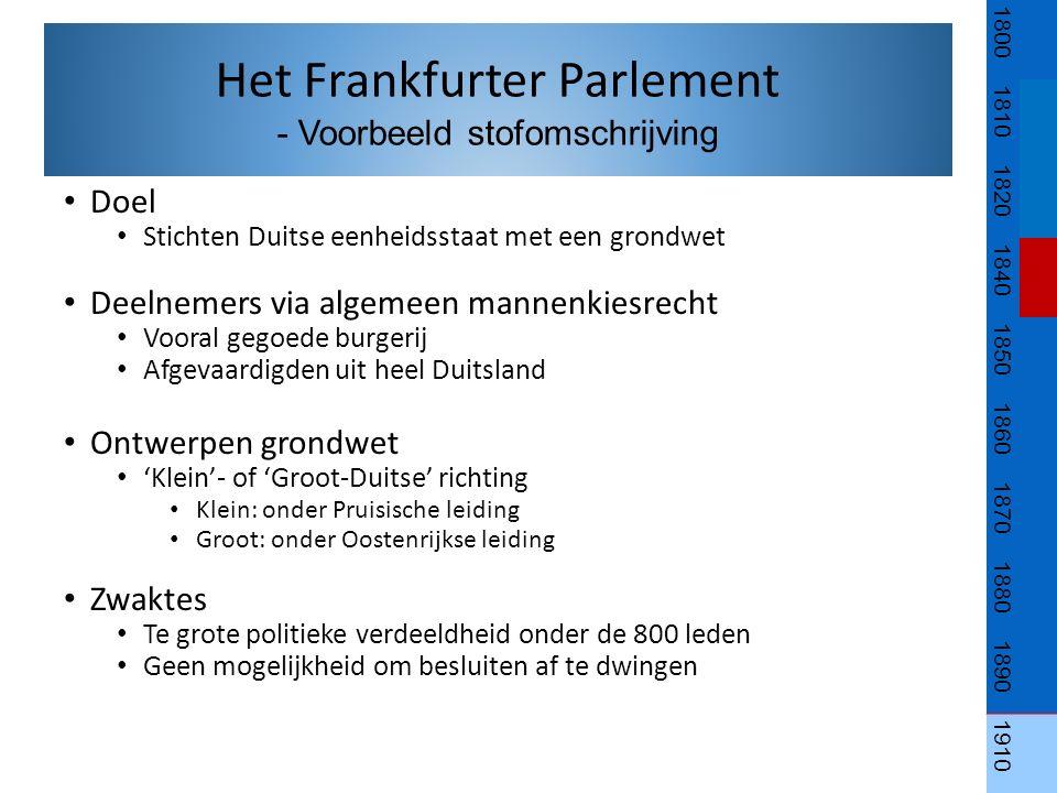 Doel Stichten Duitse eenheidsstaat met een grondwet Deelnemers via algemeen mannenkiesrecht Vooral gegoede burgerij Afgevaardigden uit heel Duitsland