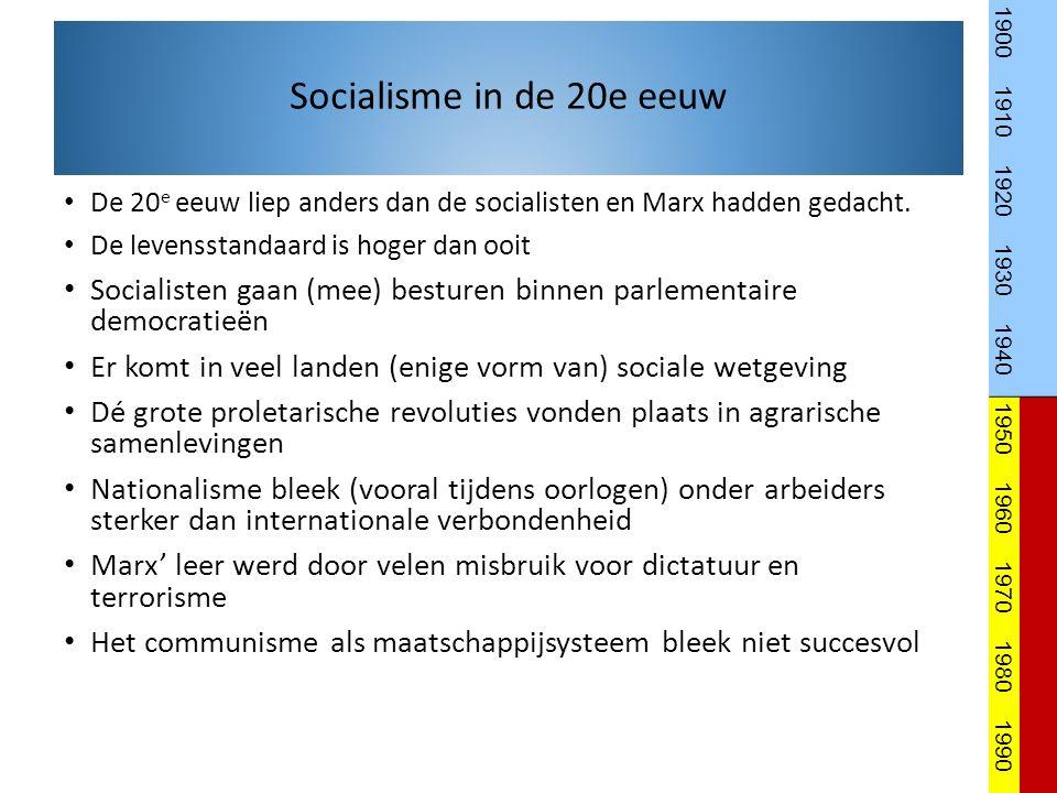 De 20 e eeuw liep anders dan de socialisten en Marx hadden gedacht.