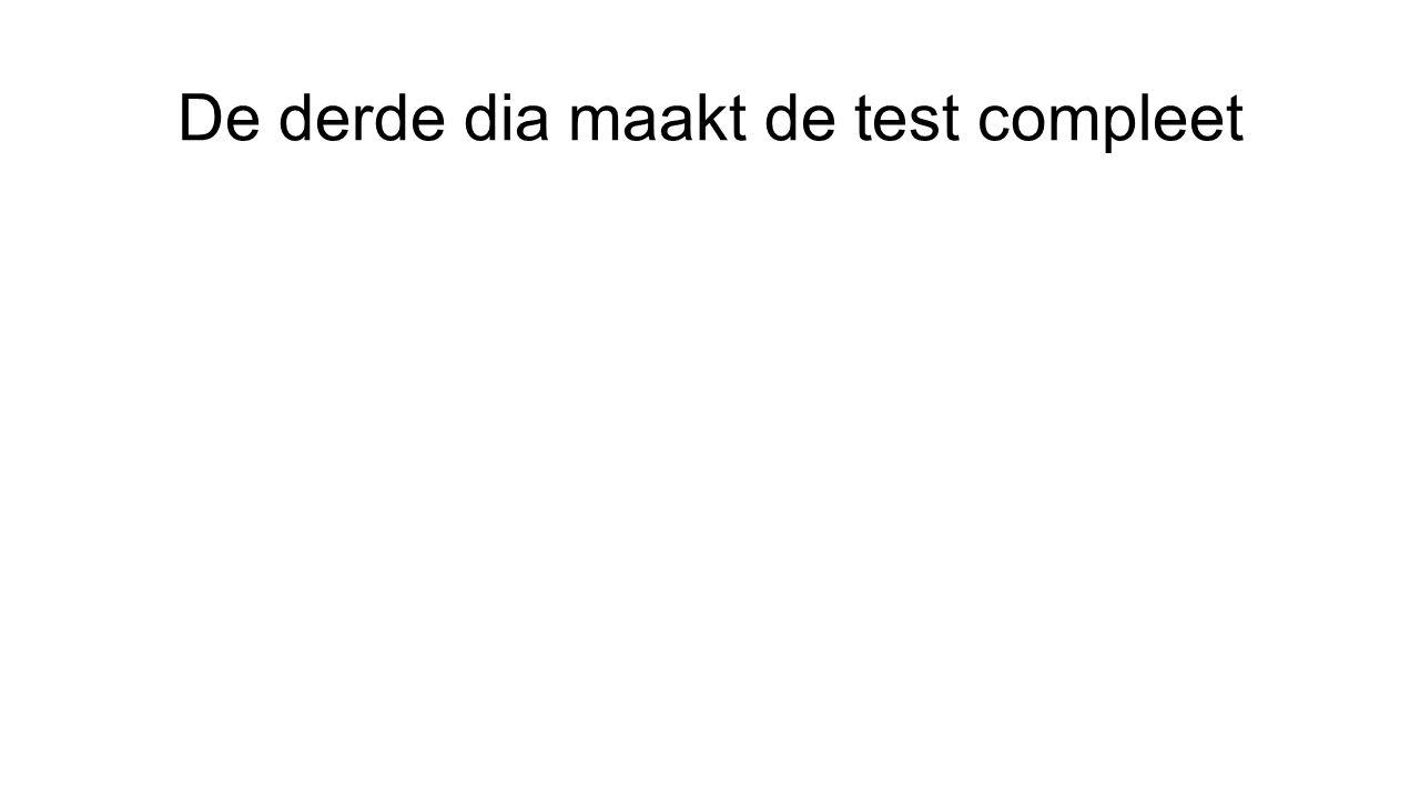 De derde dia maakt de test compleet