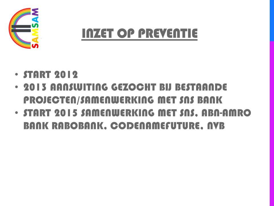 INZET OP PREVENTIE START 2012 2013 AANSLUITING GEZOCHT BIJ BESTAANDE PROJECTEN/SAMENWERKING MET SNS BANK START 2015 SAMENWERKING MET SNS, ABN-AMRO BAN