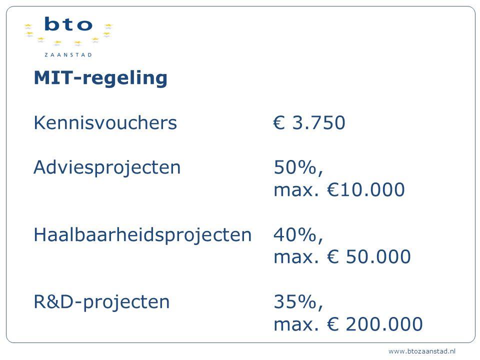 MIT-regeling Kennisvouchers€ 3.750 Adviesprojecten 50%, max.
