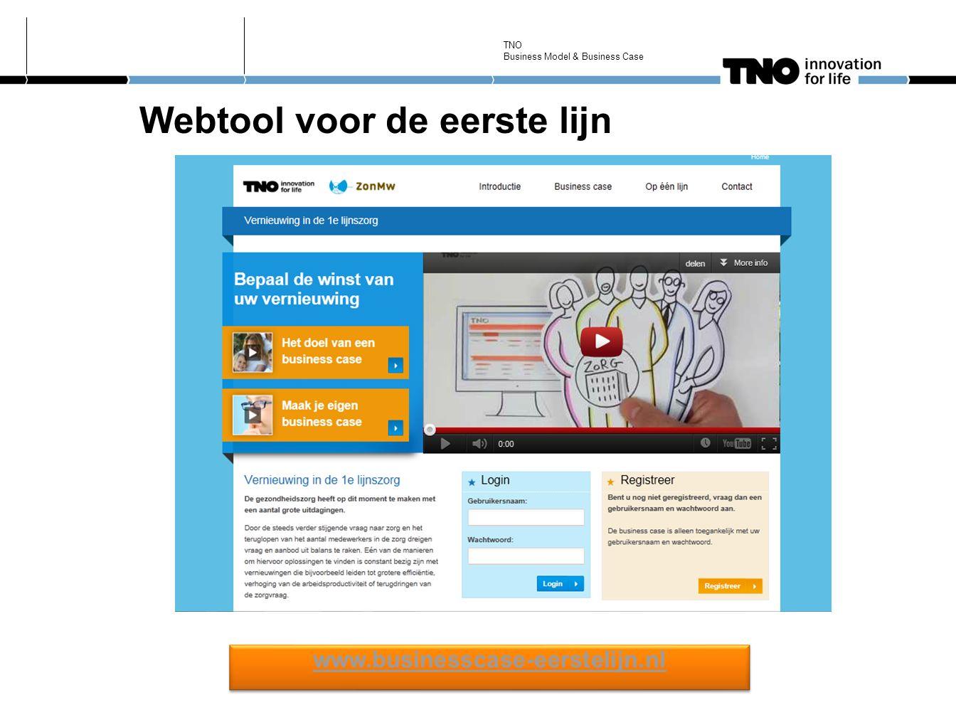 Webtool voor de eerste lijn www.businesscase-eerstelijn.nl TNO Business Model & Business Case