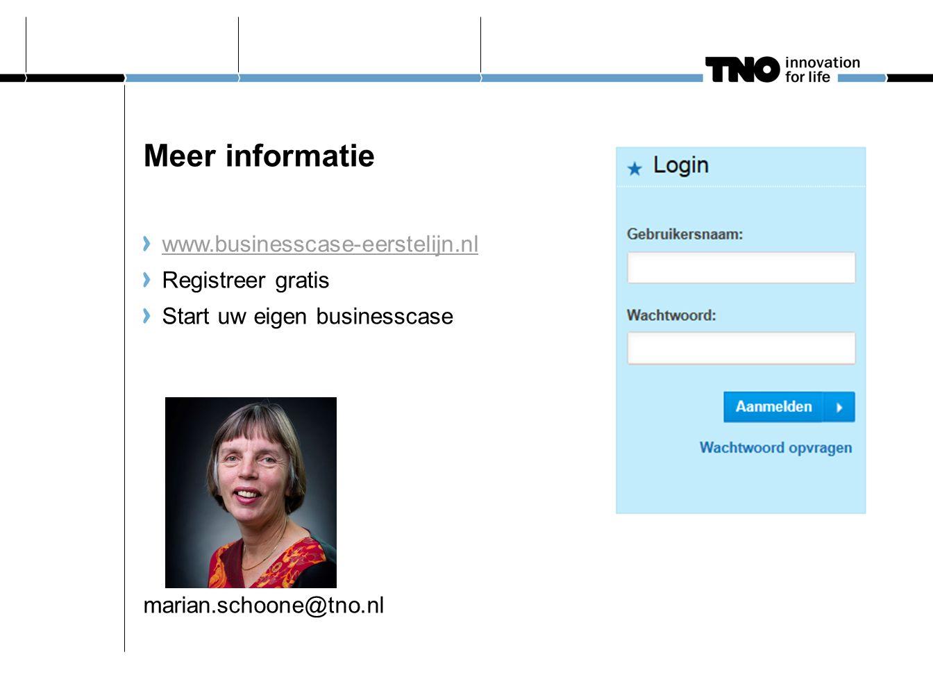 Meer informatie www.businesscase-eerstelijn.nl Registreer gratis Start uw eigen businesscase marian.schoone@tno.nl