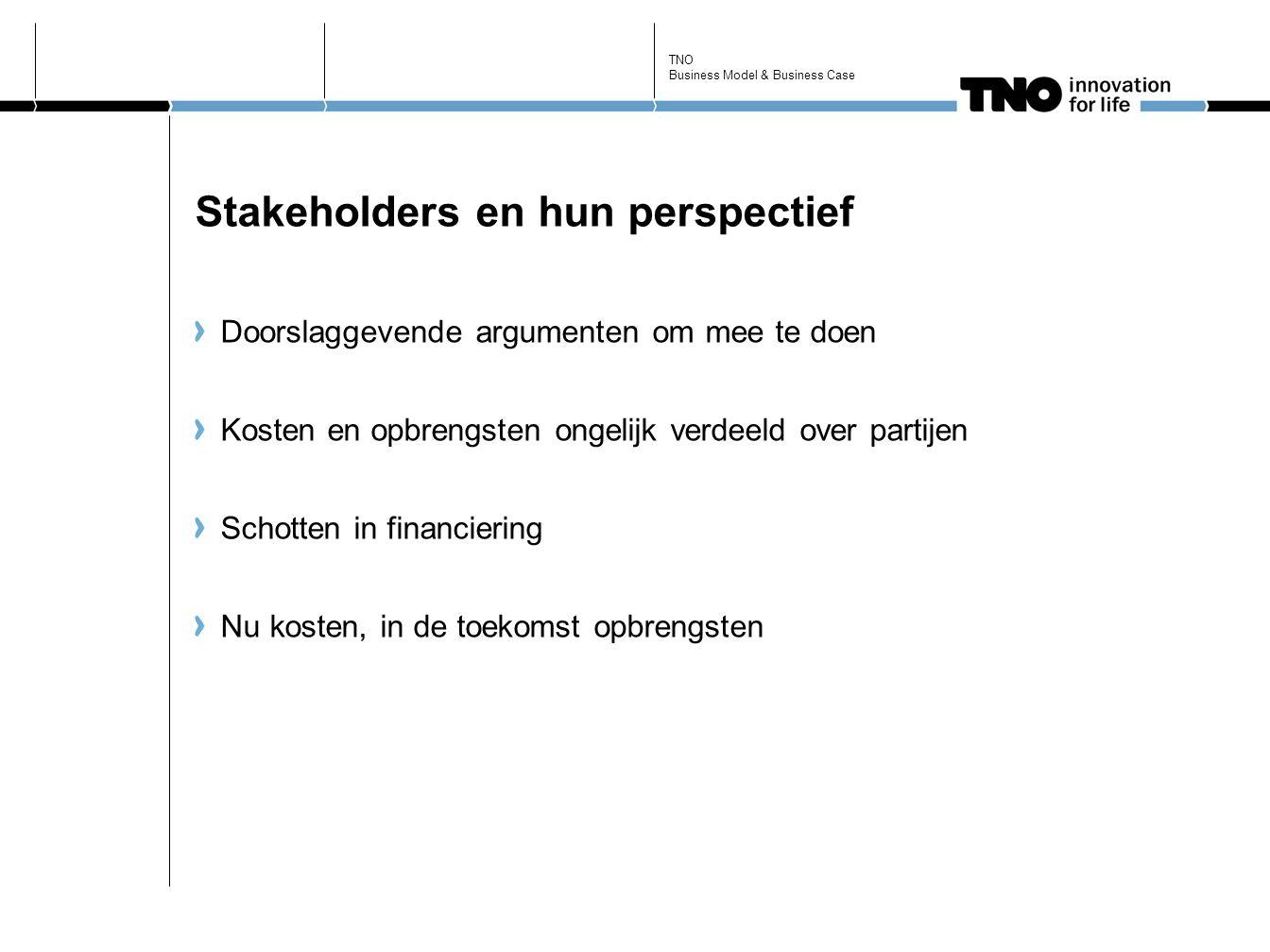 Stakeholders en hun perspectief Doorslaggevende argumenten om mee te doen Kosten en opbrengsten ongelijk verdeeld over partijen Schotten in financiering Nu kosten, in de toekomst opbrengsten TNO Business Model & Business Case