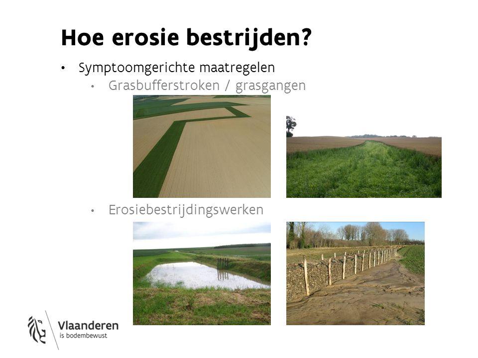 Hoe erosie bestrijden? Symptoomgerichte maatregelen Grasbufferstroken / grasgangen Erosiebestrijdingswerken