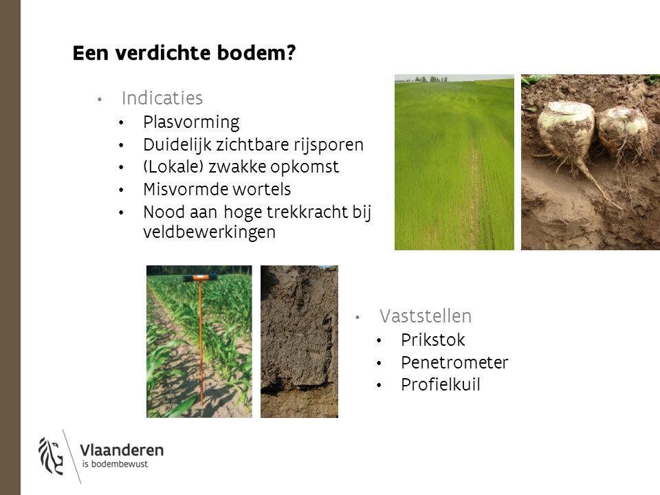 Indicaties Plasvorming Duidelijk zichtbare rijsporen (Lokale) zwakke opkomst Misvormde wortels Nood aan hoge trekkracht bij veldbewerkingen Een verdic