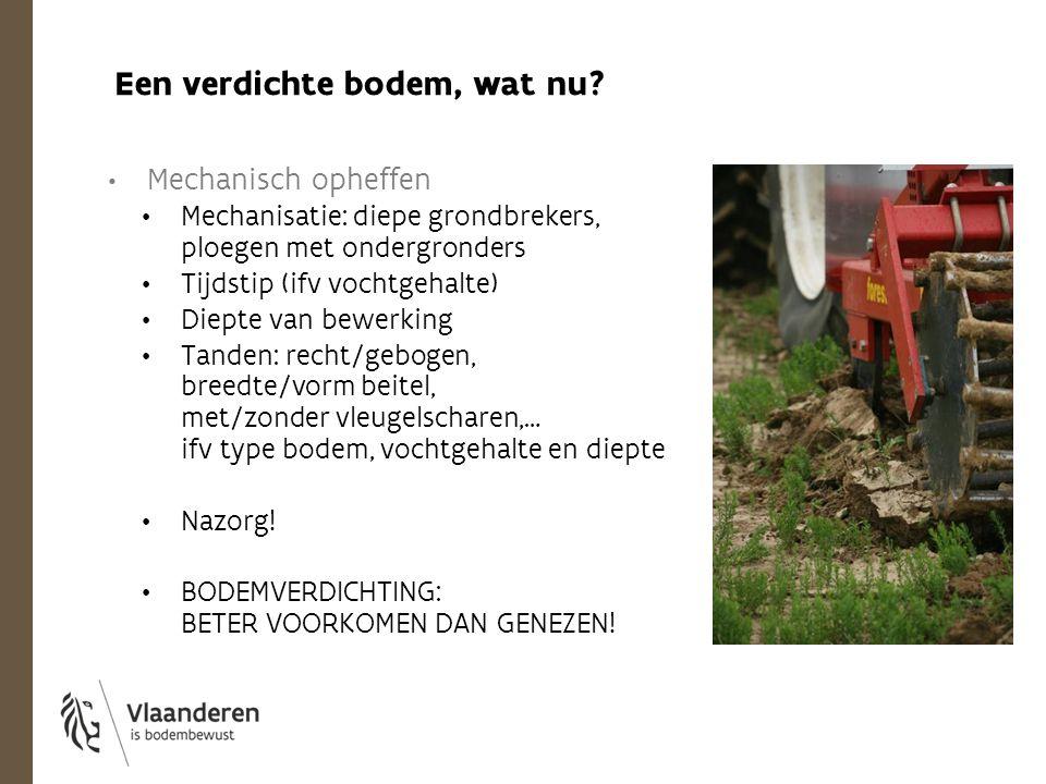 Mechanisch opheffen Mechanisatie: diepe grondbrekers, ploegen met ondergronders Tijdstip (ifv vochtgehalte) Diepte van bewerking Tanden: recht/gebogen
