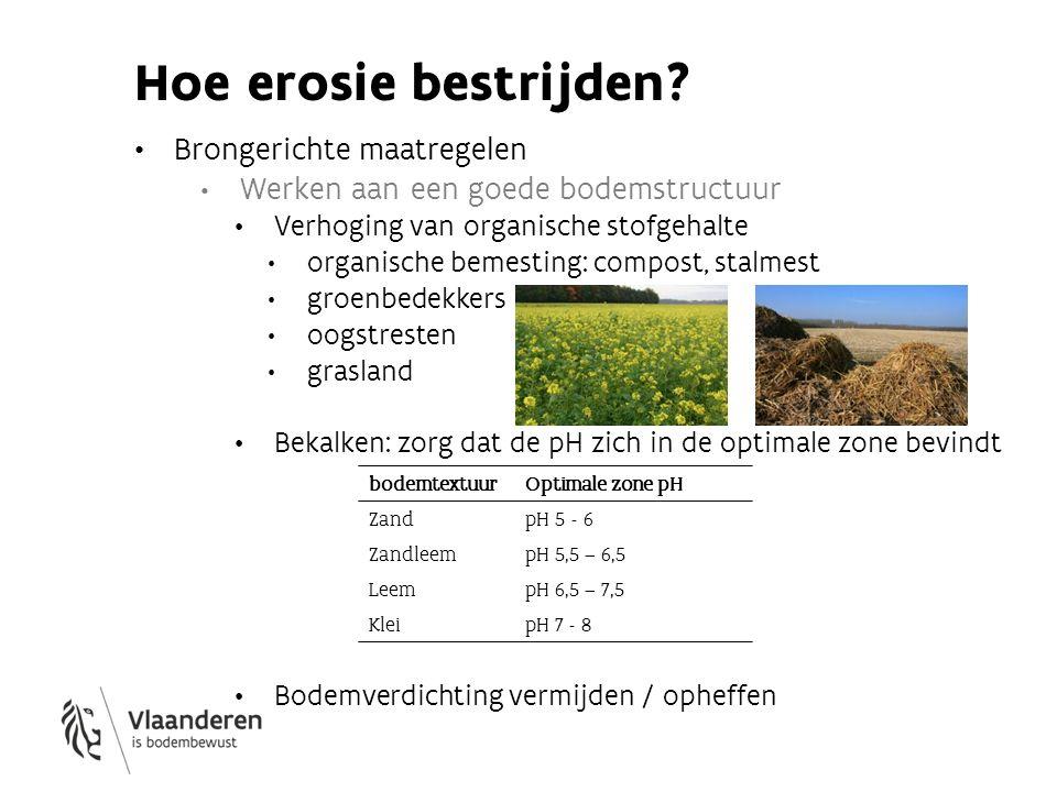 Hoe erosie bestrijden? Brongerichte maatregelen Werken aan een goede bodemstructuur Verhoging van organische stofgehalte organische bemesting: compost