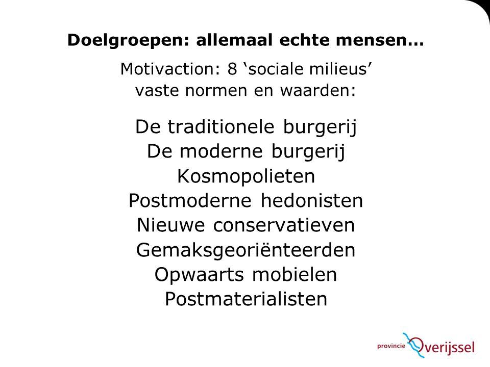 Doelgroepen: allemaal echte mensen… Motivaction: 8 'sociale milieus' vaste normen en waarden: De traditionele burgerij De moderne burgerij Kosmopoliet