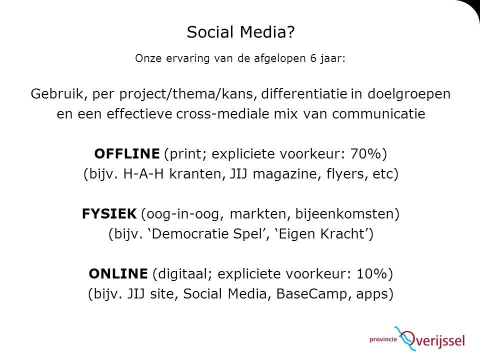 Social Media? Onze ervaring van de afgelopen 6 jaar: Gebruik, per project/thema/kans, differentiatie in doelgroepen en een effectieve cross-mediale mi