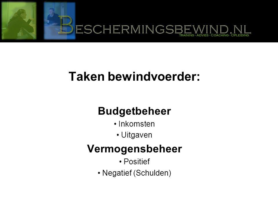 Taken bewindvoerder: Budgetbeheer Inkomsten Uitgaven Vermogensbeheer Positief Negatief (Schulden)
