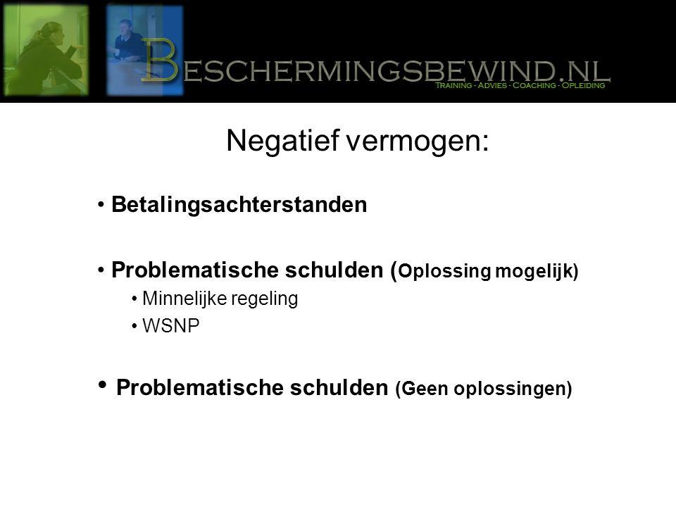 Negatief vermogen: Betalingsachterstanden Problematische schulden ( Oplossing mogelijk) Minnelijke regeling WSNP Problematische schulden (Geen oplossingen)