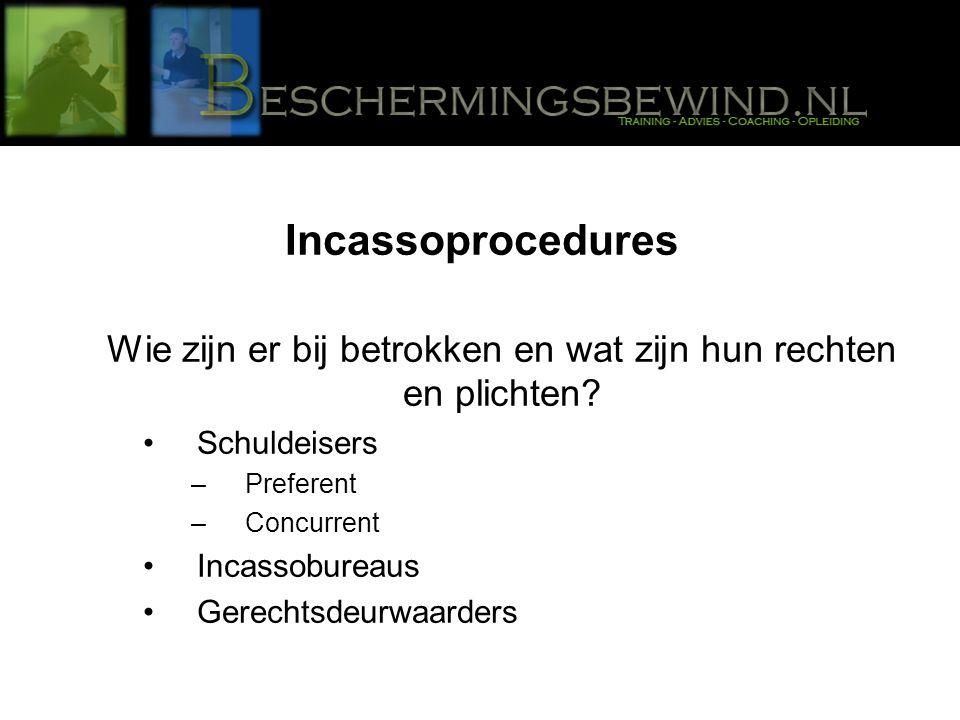 Incassoprocedures Wie zijn er bij betrokken en wat zijn hun rechten en plichten.