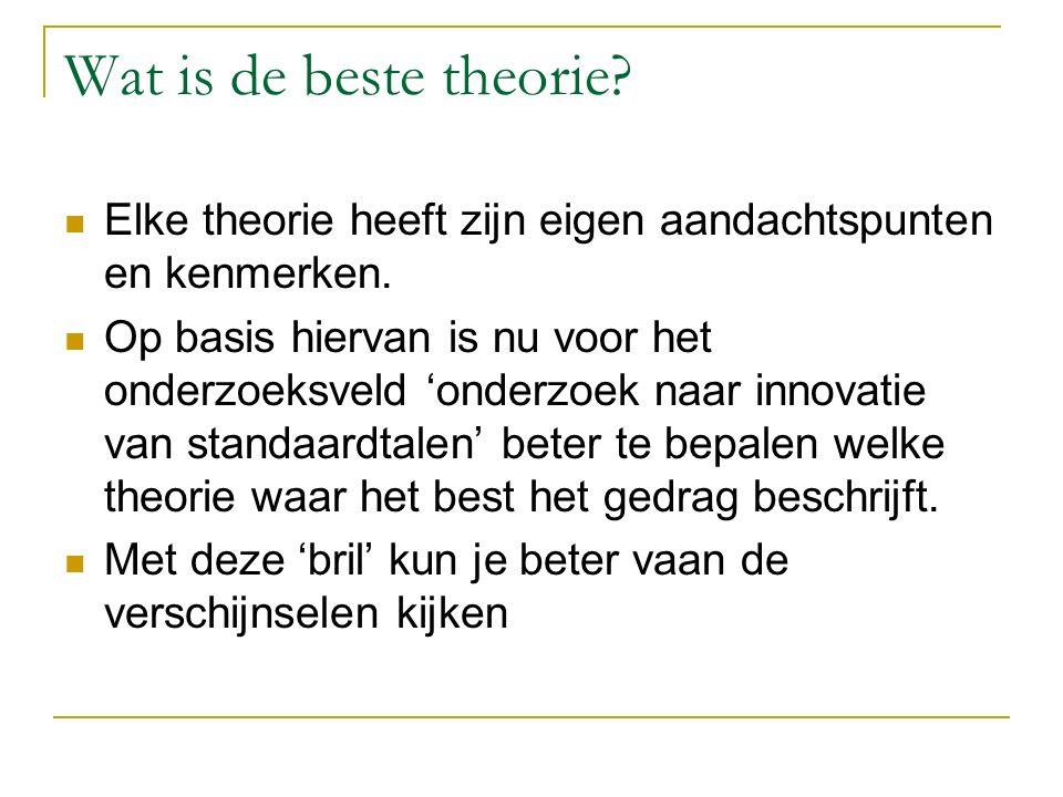 Wat is de beste theorie? Elke theorie heeft zijn eigen aandachtspunten en kenmerken. Op basis hiervan is nu voor het onderzoeksveld 'onderzoek naar in