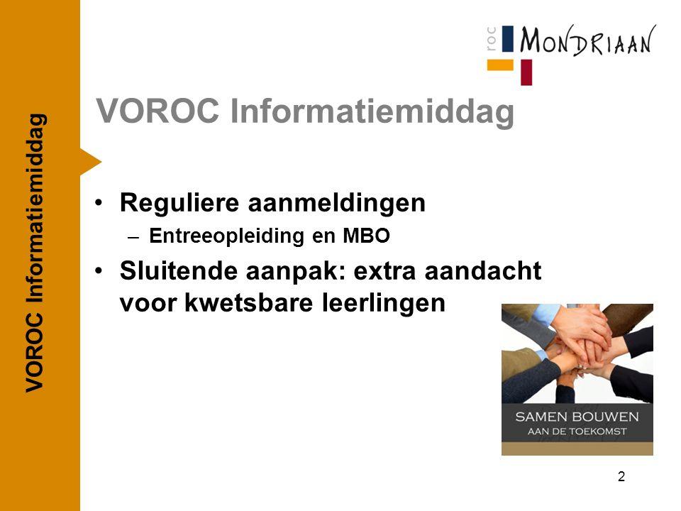 Reguliere aanmeldingen –Entreeopleiding en MBO Sluitende aanpak: extra aandacht voor kwetsbare leerlingen VOROC Informatiemiddag 2