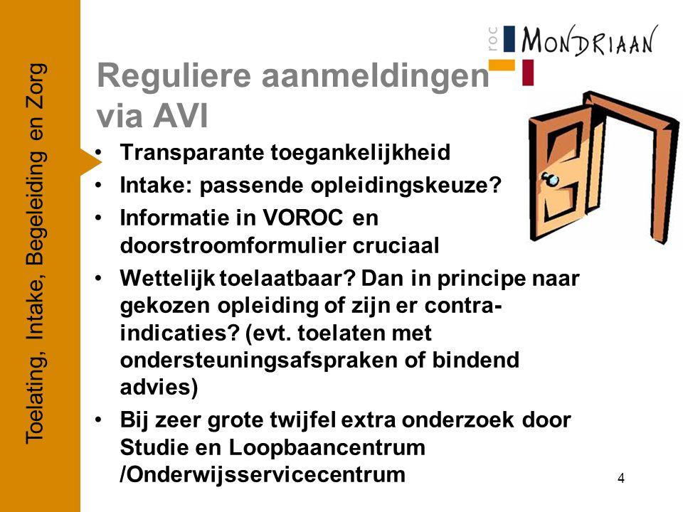 Reguliere aanmeldingen via AVI Transparante toegankelijkheid Intake: passende opleidingskeuze? Informatie in VOROC en doorstroomformulier cruciaal Wet
