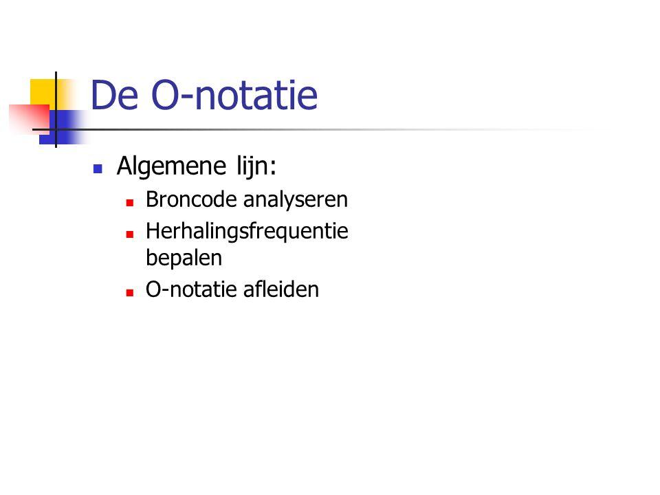 De O-notatie Algemene lijn: Broncode analyseren Herhalingsfrequentie bepalen O-notatie afleiden
