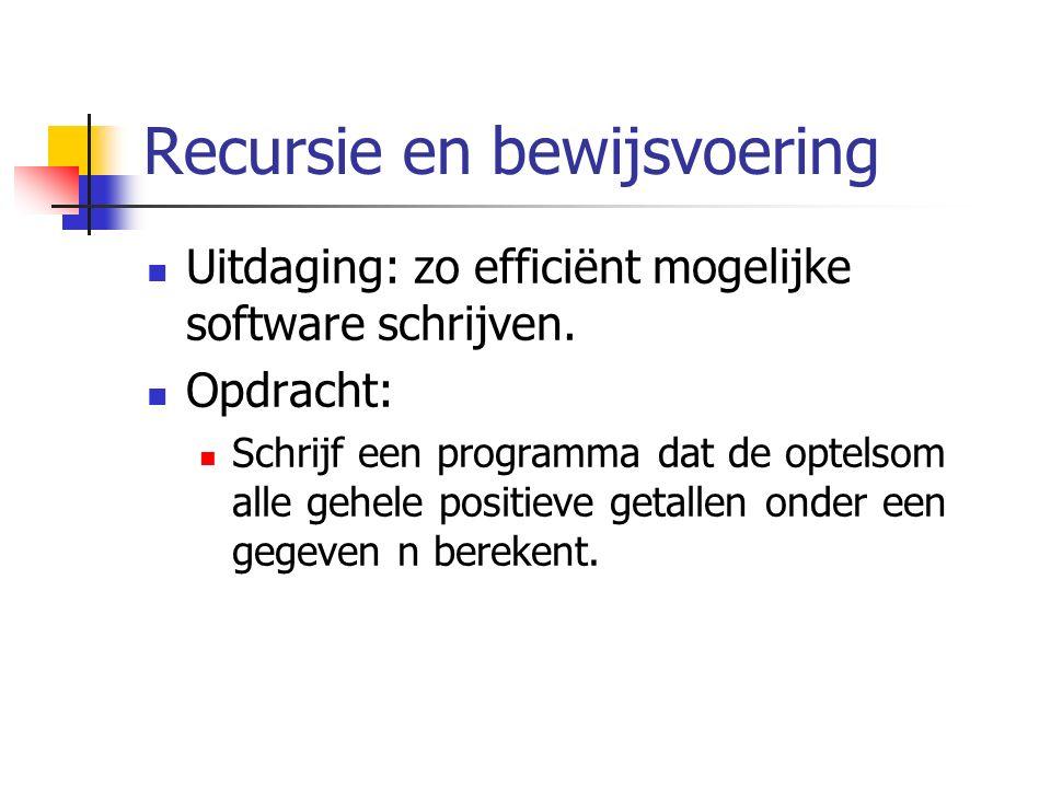 Recursie en bewijsvoering Uitdaging: zo efficiënt mogelijke software schrijven.