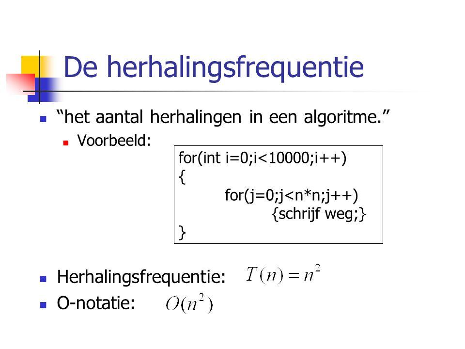 De herhalingsfrequentie het aantal herhalingen in een algoritme. Voorbeeld: Herhalingsfrequentie: O-notatie: for(int i=0;i<10000;i++) { for(j=0;j<n*n;j++) {schrijf weg;} }
